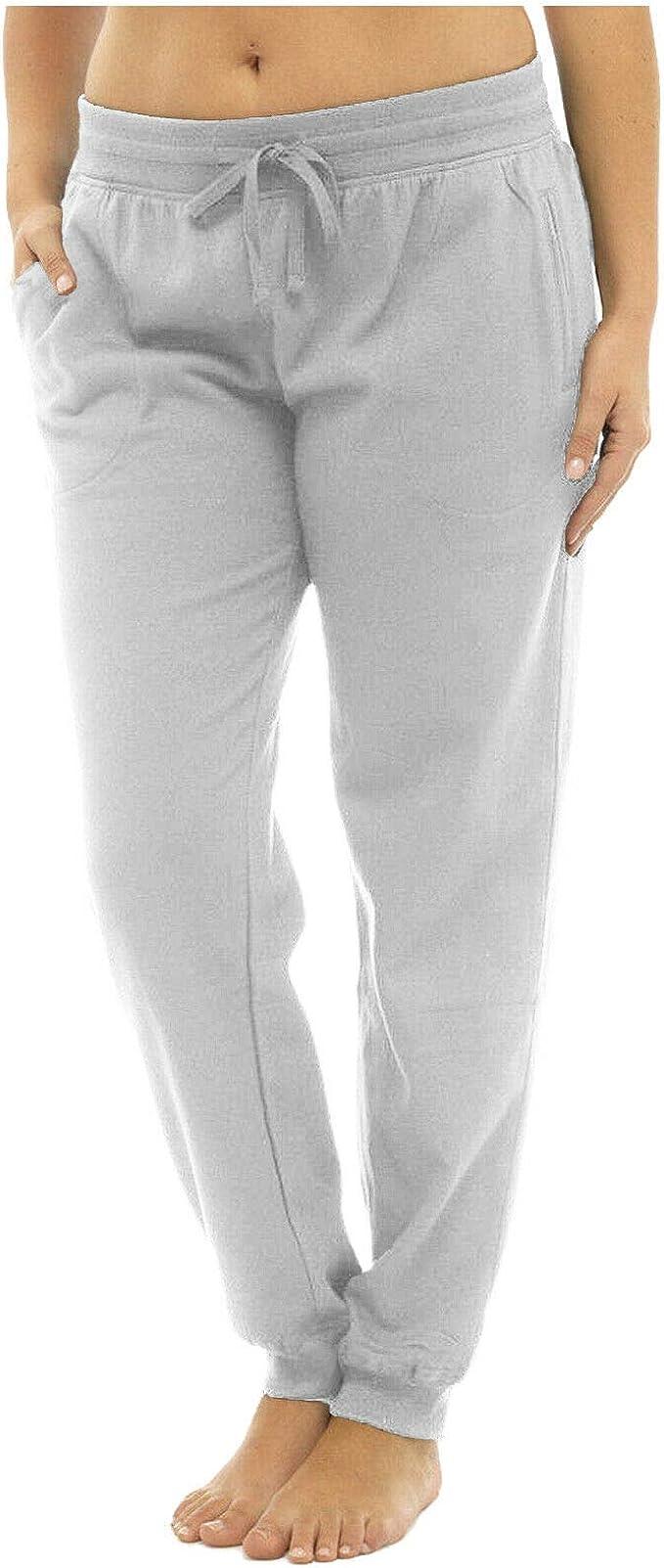 MyShoeStore Pantalones de chándal para Mujer Gris Dobladillo ...