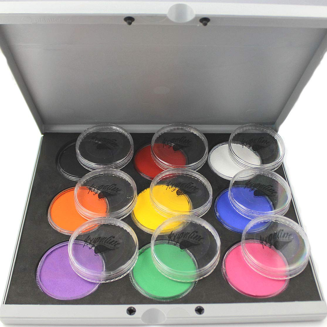 Face Painting Palette with Kryvaline Regular Line Essential Colors 30g Each Made with FDA Approved Materials Enough for Creating 500 Designs