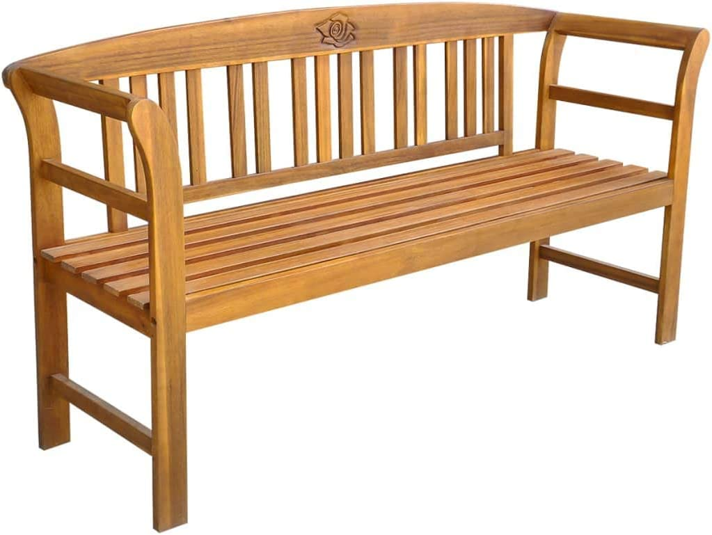 Tidyard Garden Bench Outdoor Rose Bench with Armrests 3-Seater Indoor//Outdoor Furniture Solid Acacia Wood 157x45x82.5 cm