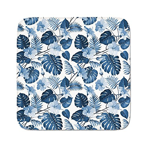 Cozy Seat Protector Pads Cushion Area Rug,Leaf,Palm and Mango Tree Branch and Hawaiian Hibiscus Flower Image,Light Blue Turquoise and Dark Blue,Easy to Use on Any Surface ()