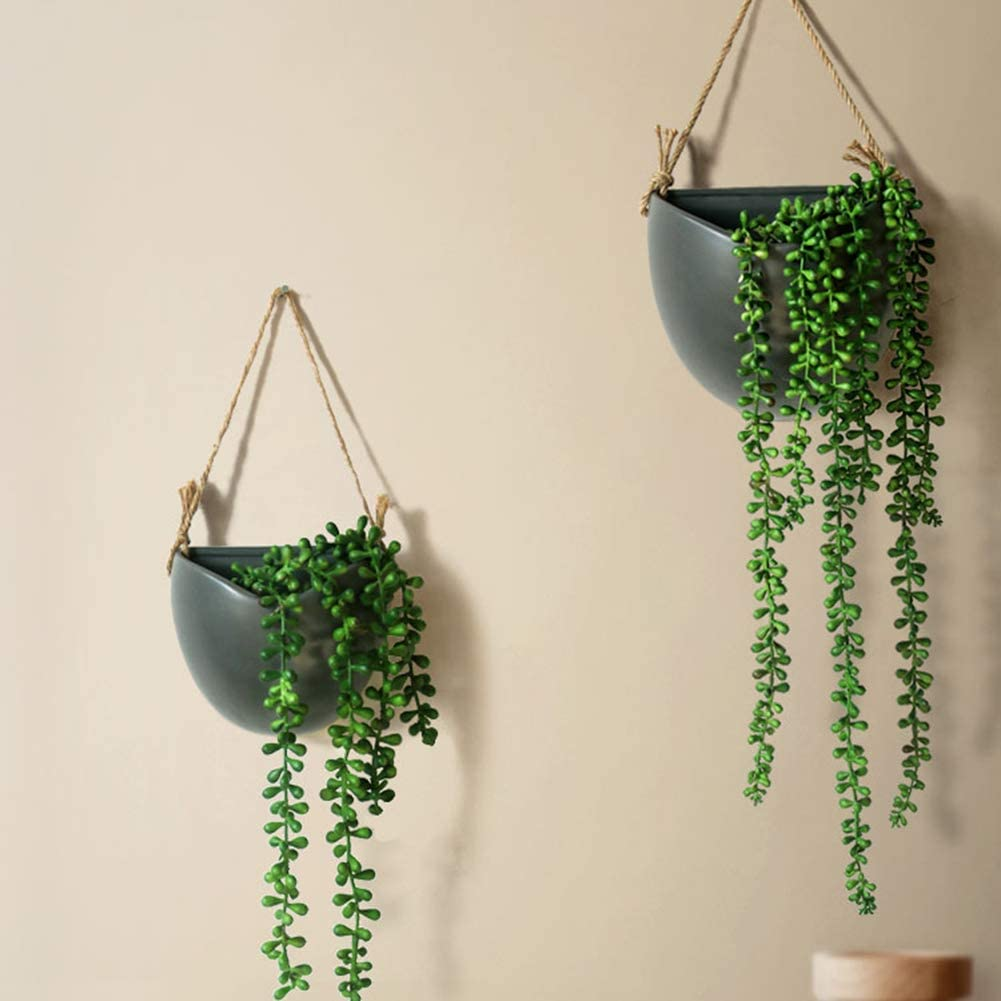 Suwimut 6 Pack Artificial Hanging Succulent Plants Fake String of Pearls Plant for Wall Home Kitchen Office Garden Decoration 28 Inches Each Length