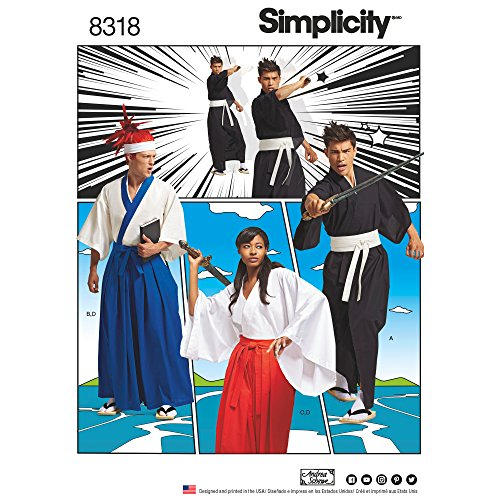 Simplicity Pattern 8318 Misses', Men's and Teen's Kimono Costumes Sewing Pattern, Size XS-XL -
