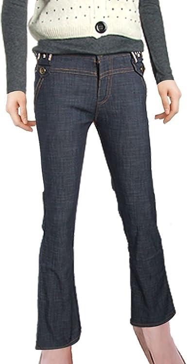 Amazon Com Pantalones Vaqueros De Cintura Alta Para Mujer Color Azul Oscuro Straight S Clothing