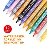 Acrylic Paint Marker Pens- Paint Pens for Painting on Rock, Glass, Canvas, Fabric