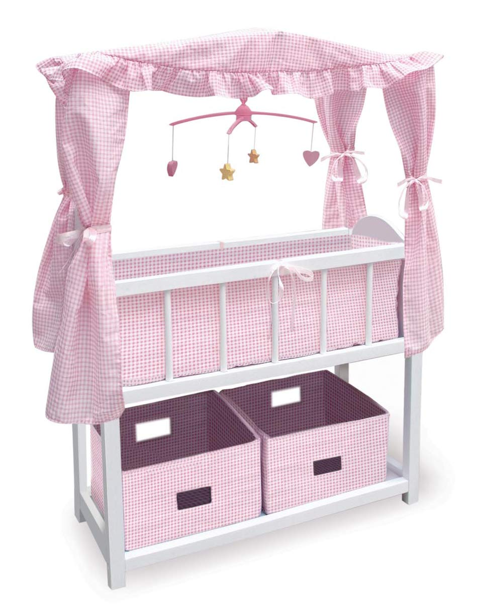 Badger Basket Canopy Doll Crib with Baskets, Bedding & Mobile (fits American Girl dolls) 01723