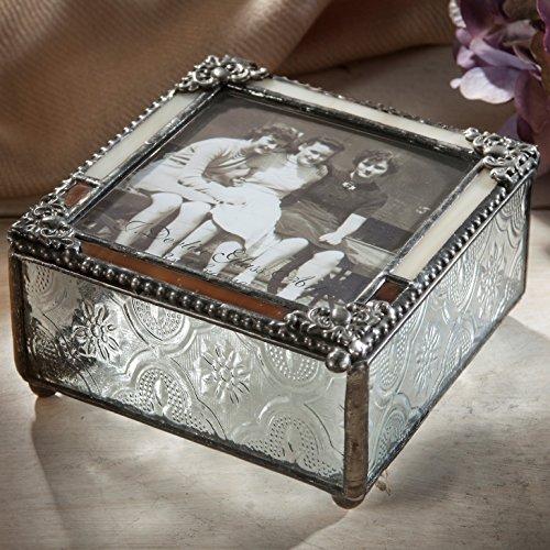 J Devlin Pbox 320 Stained Glass Photo Box 3x3 Picture Box Keepsake Gift Photo Storage Memory (Photo Keepsake Box)
