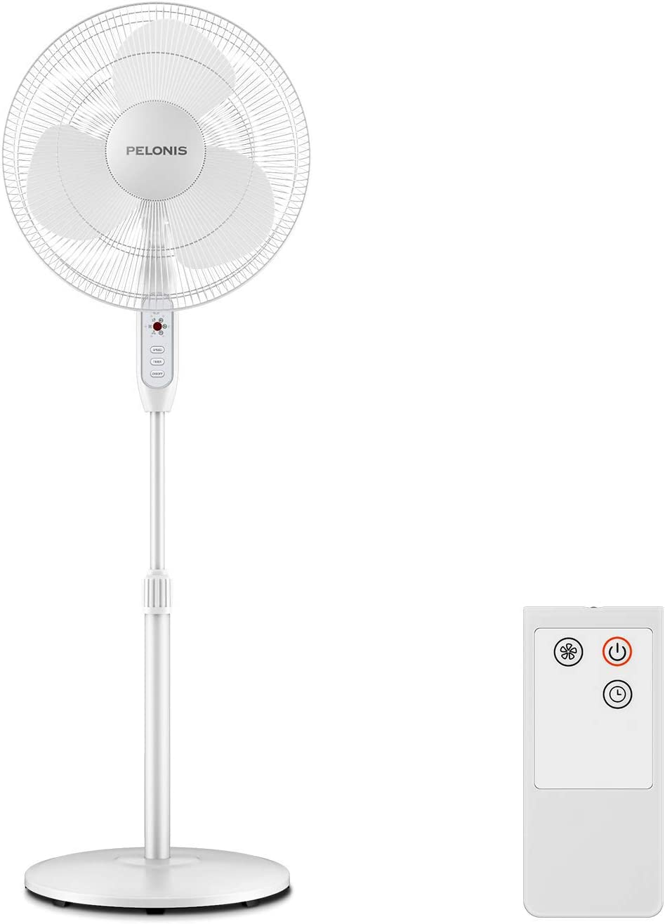 PELONIS 16-Inch 3-Speed Oscillating Pedestal Fan with 7-Hour Timer, Remote Control and Adjustable in Height, FS40-16JR, White