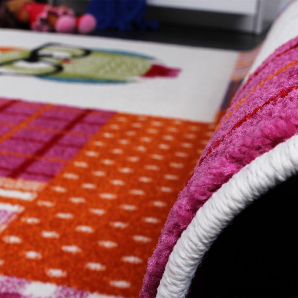 Gr/össe:80x150 cm Teppich Kinderzimmer Trendige Eulen Kinderteppich Eule Mehrfarbig Pink Creme