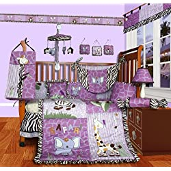 SISI Baby Boutique - Safari 13 pieces Purple Girl Crib Bedding Set