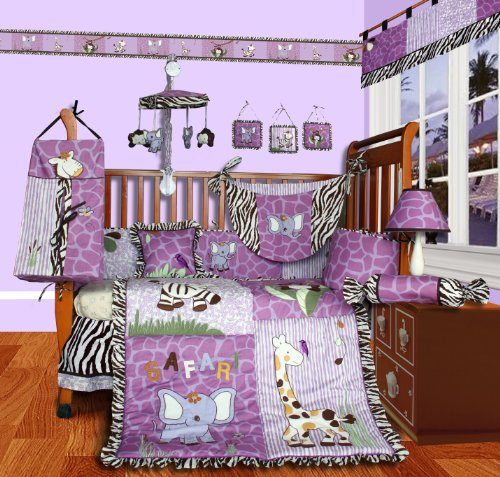 SISI Baby Boutique - Safari 13 PCS Girl Crib Bedding Set (Girl Monkey Crib Bedding)