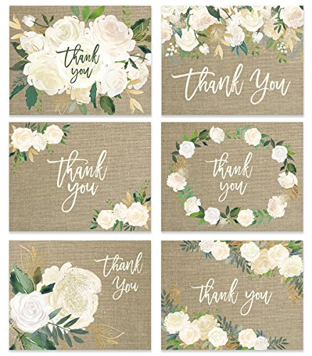 Rustic Wedding Thank You Cards ( Set of 48 ) Premium All Occasion Assorted Bridal Shower Shabby Chic Mr. & Mrs. Burlap Note Card Variety Pack with Envelopes, Blank Inside Cute Excellent Value VTA0002 (Tags Shabby Chic)