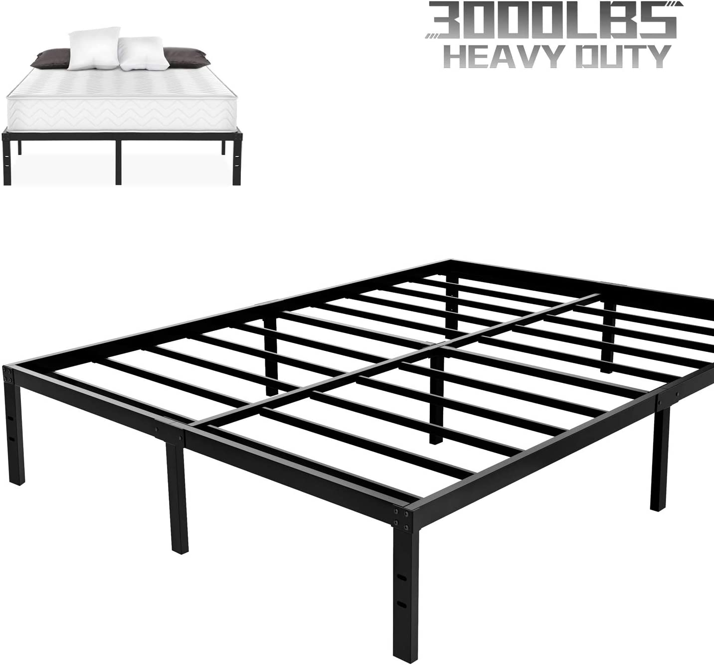 NOAH MEGATRON Heavy Duty King Platform Bed Frame, Slatted Bed Base 14 Inch Mattress Foundation Bed Frame,12 Inch Under-Bed Storage,No Box Spring Needed King