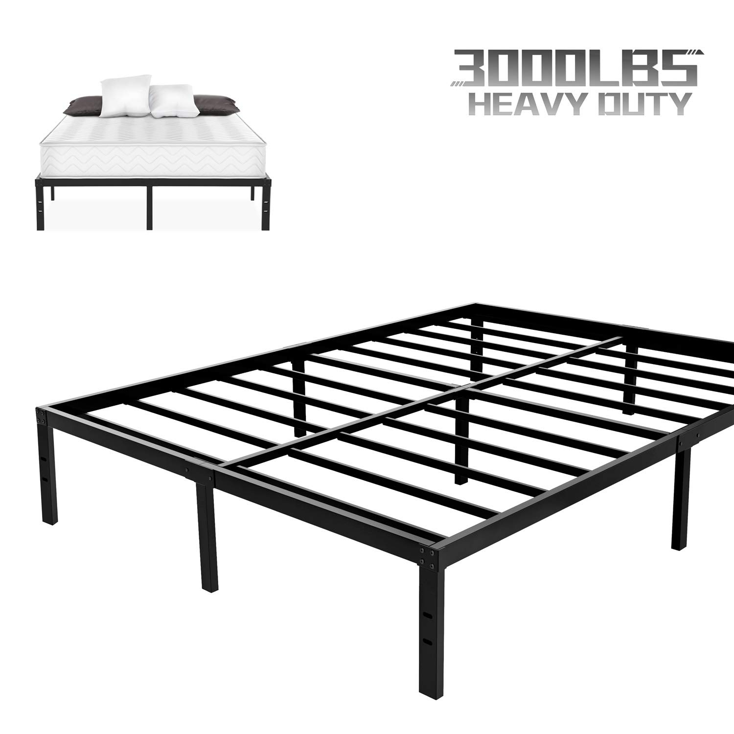 NOAH MEGATRON Heavy Duty Queen Platform Bed Frame, Slatted Bed Base 14 Inch Mattress Foundation Bed Frame,12 Inch Under-Bed Storage,No Box Spring Needed Queen