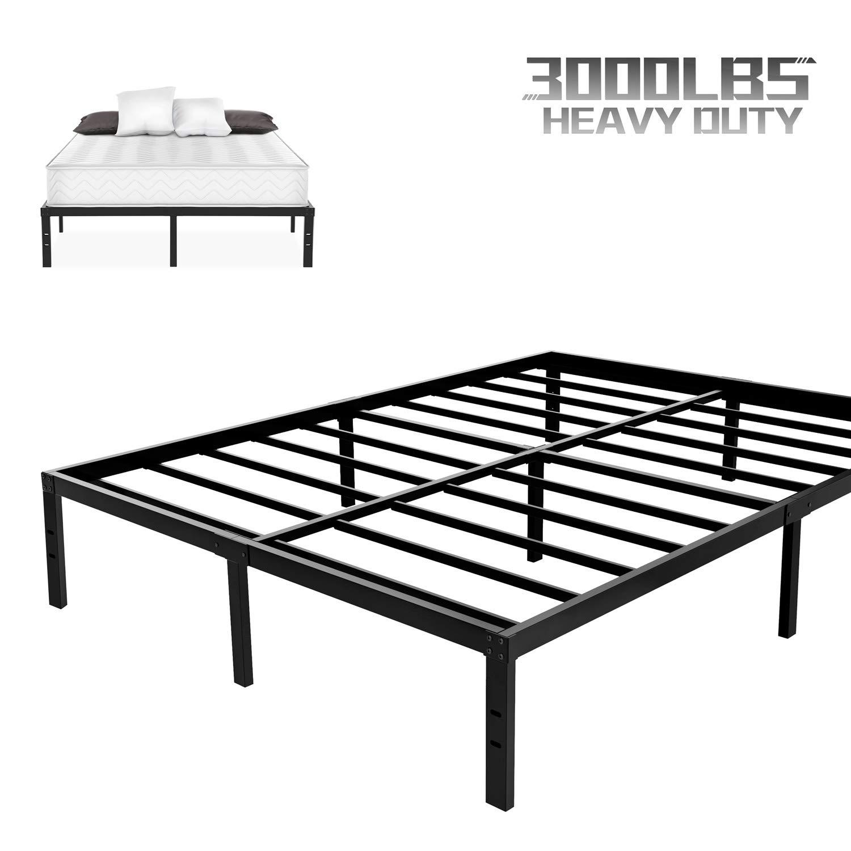 NOAH MEGATRON Heavy Duty Queen Platform Bed Frame, Slatted Bed Base 14 Inch Mattress Foundation Bed Frame,12 Inch Under-Bed Storage,No Box Spring Needed (Queen)