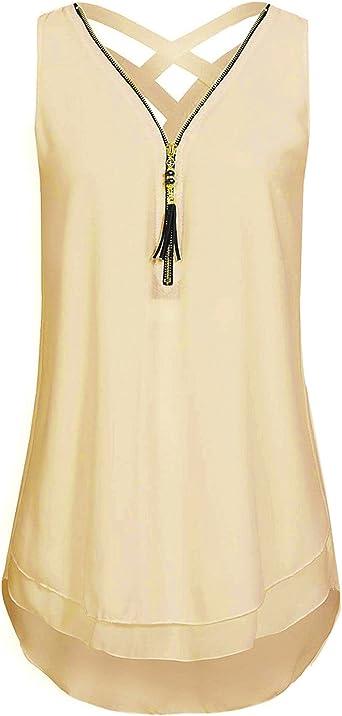 DEMO SHOW Blusa de Gasa para Mujer Sin Mangas con Cuello en V Cremallera Parte Delantera Parte Posterior Hueco hacia Fuera Camisa Camisetas sin Mangas Camiseta: Amazon.es: Ropa y accesorios