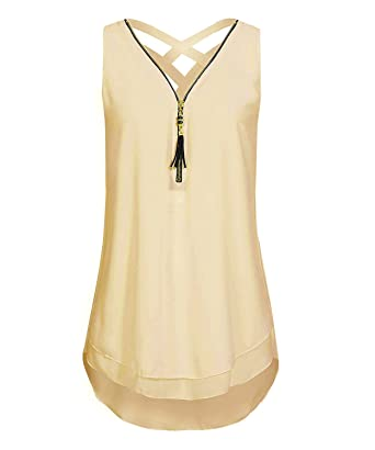 1c4a29a8b1966 DEMO SHOW Blusa de gasa para mujer Sin mangas Con cuello en V Cremallera  Parte delantera