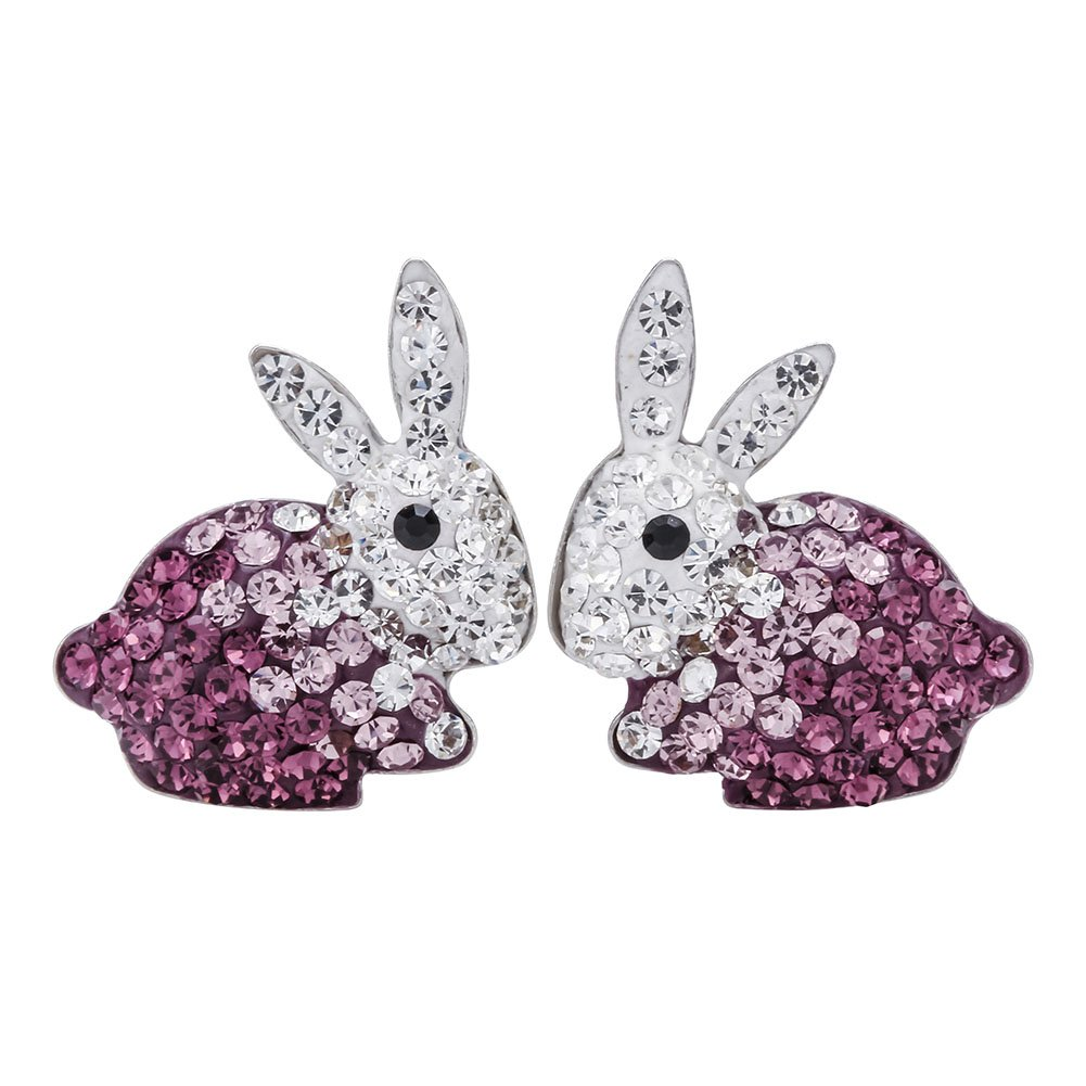 Szxc Jewelry Cute 925 Sterling Silver Crystal Easter Bunny costume Stud Earrings for Women Girls
