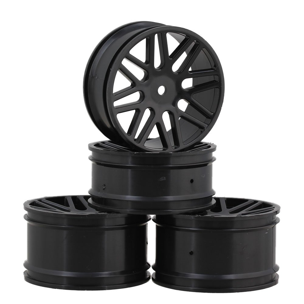 Mxfans 4PCS RC Buggy Black Wheel Rim with 16-Spoke Plastic Dia 60mm Fits for 1/10 Off-road Car blhlltd Mx70A