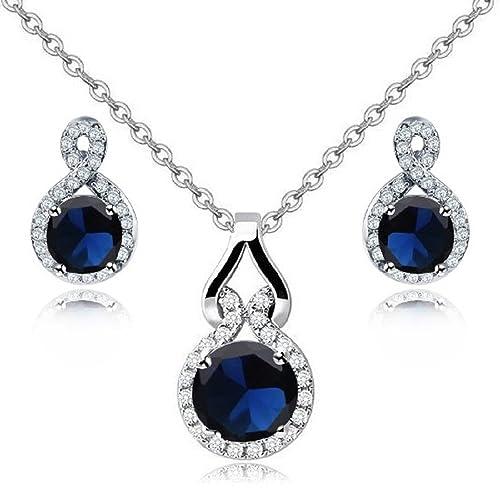 Schmuck-Set mit Swarovski-Kristallen und mit 18 Karat weißvergoldet - Saphirblau - Halskette und Ohr...
