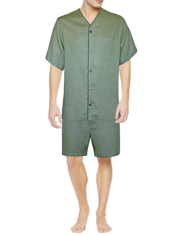 Armani International Dante Linen Short Pajama Set Large, Sage
