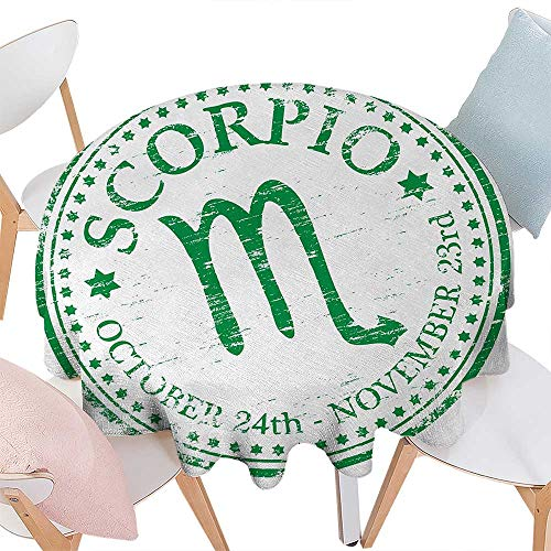 - cobeDecor Zodiac Scorpio Customized Round Tablecloth Retro Zodiac Rubber Stamp Design with Grunge Look Stars and Dates Round Tablecloth D70 Fern Green and White