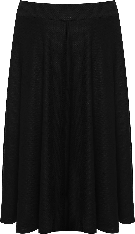 WearAll Femmes Plus Évasée Genou Longueur Patineur Jupe Dames Élastiquée  Étendue Plissé - 42-56  Amazon.fr  Vêtements et accessoires bbd68f87112e