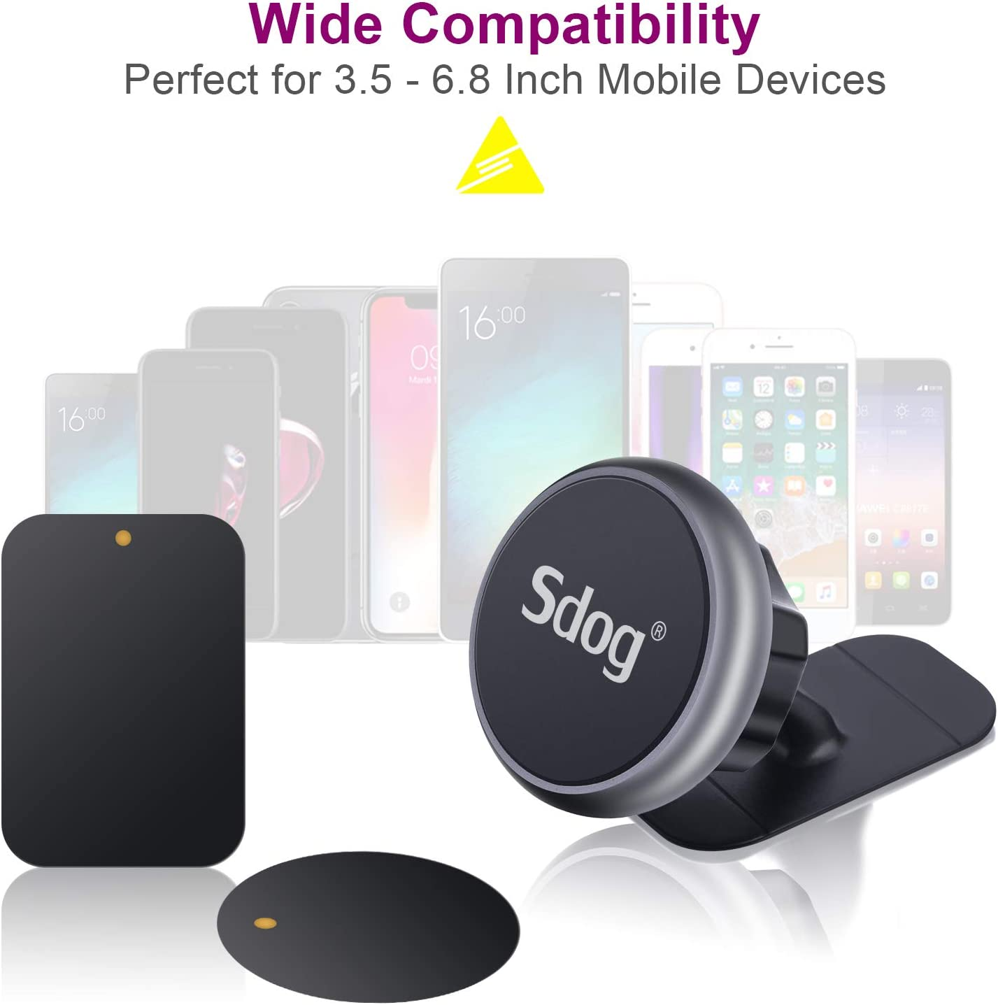 Sdog Universal Air Vent Dashboard Cell Phone Holder Mount with Strong Magnet Compatible iPhone X Xs Max XR 8 Plus 7 6 Samsung Galaxy S10 S9 S8 Plus etc Magnetic Car Mount, 2 Pack