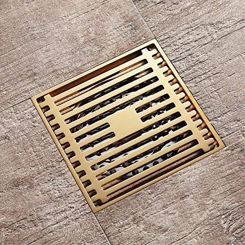Kuingbhn Bodenablauf Antike Messing Quadratmaschen Bodenablauf Kupfer Deodorant Goldenes WC Badezimmer mit großem Hubraum Bodenablauf 100x100x28mm für Badezimmer Dusche Zimmer Toilette Wäscherei Ga
