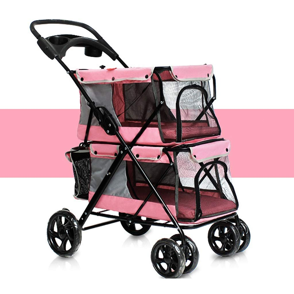 A LYN Dog wheelchair, Pet Stroller, Pet Carrier, Dog cat Easy Folding Double Pet Trolley Dogs Big Space Carts Four Rounds of Outdoor Travel Supplies (79  52  105CM) (color   A)