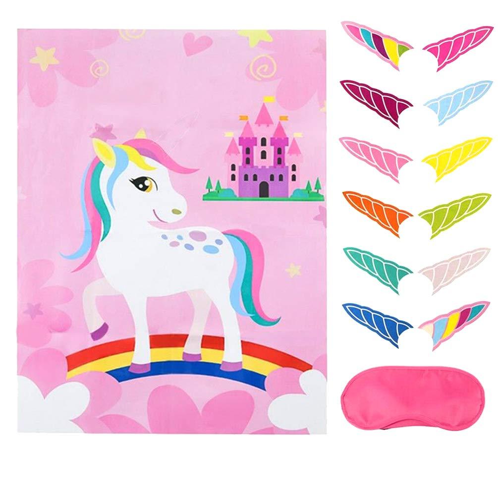 Pin The Horn On The Unicorn Party Game Blindfolds Kids Birthday Favor Games Rainbow Unicorn tem/ático Suministros para Fiestas Cartel Grande 12 Pegatinas Cuernos