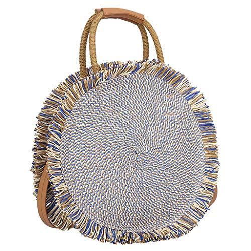 LUXISDE Fashion Women's Open Straw Solid Color Messenger Bag Round Bag Shoulder Bag ()