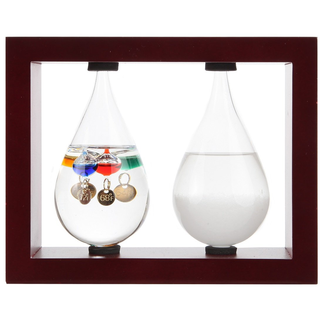 Lily's Home Desktop Weather Station, with Galileo Thermometer and Fitzroy Storm Glass Weather Predictor in Beautiful Tear Drop Shapes, 5 Multi-Colored Spheres, Cherry (7.25 in x 5.75 in)
