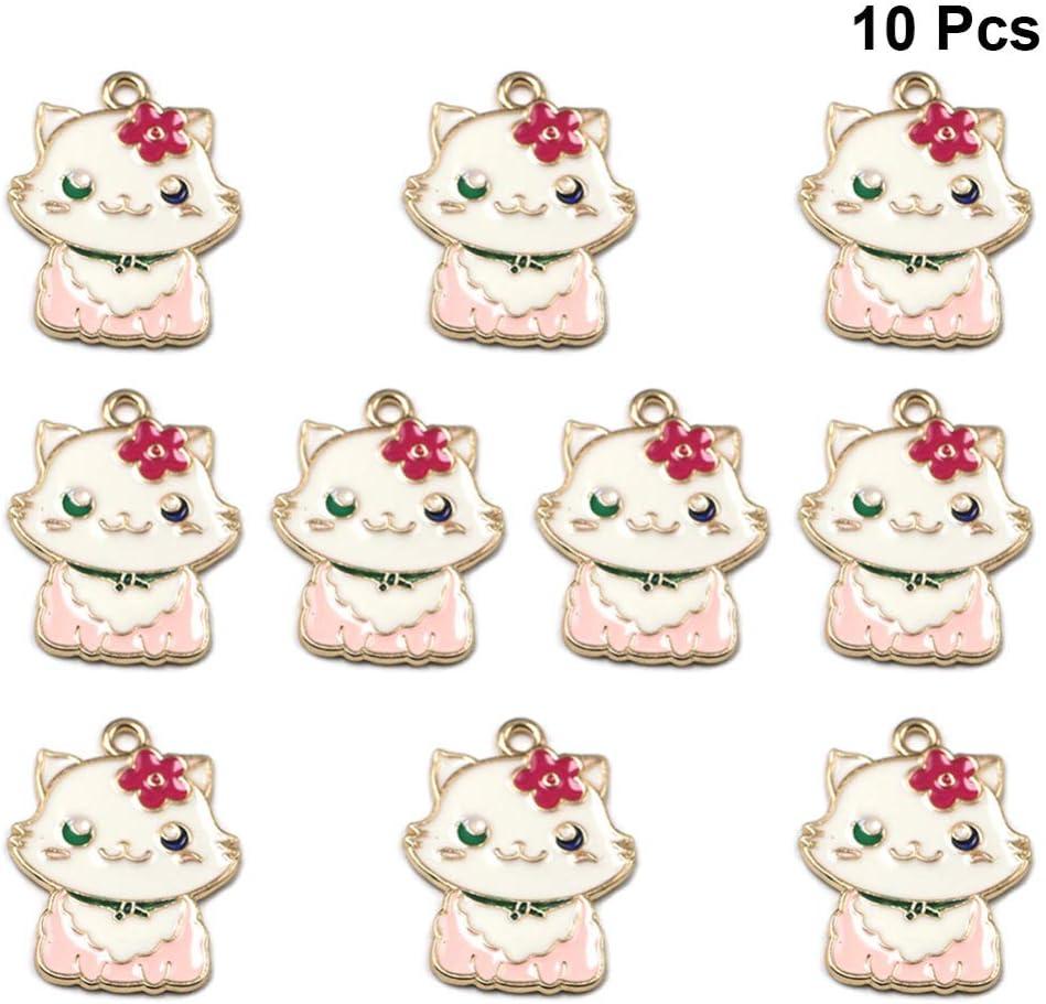 Fenical 10 St/ücke Katze Anh/änger Charme Karikatur Tier Emaille Charme DIY Schmuck Handwerk Machen Zubeh/ör f/ür Halskette Armband Ohrring Schl/üsselanh/änger