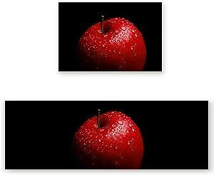 Victories Kitchen Area Rug Pad Set 2 Piece-Non Slip Comfort Cushioned Doormat,3D Red and Black Fruits Oil Painting Floor Mat Rug Runner Set Kitchen/Living Room/Bedroom Carpet