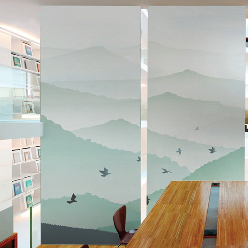 YQ WHJB Frosted privacy window film,No glue Static decorative films,Pvc Waterproof Glass Office Balcony Showcase Reusable Window decal Stickers-A 60x80cm(24x31inch)