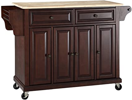 Charmant Crosley Furniture Rolling Kitchen Island With Natural Wood Top   Vintage  Mahogany