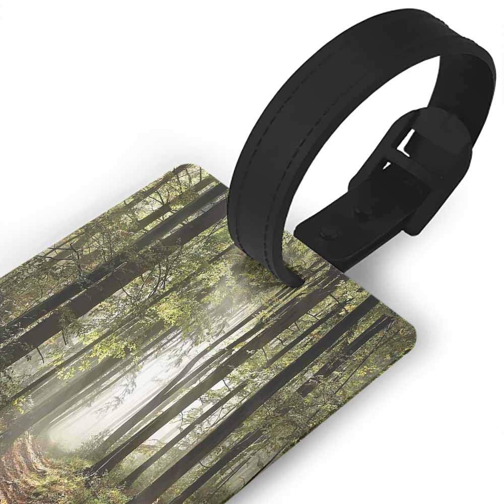 Luggage tag,Forest,Abstract Pattern with Birch Trees in Autumn Season Leafy Branches Modern,Holders Zip Seal /& Steel Loops Thick Brown Beige Vermilion