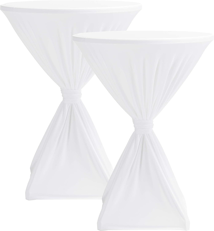 Blanc. 2er Set /Ø 80 cm 100 /% polyester Lot de 2 housses Hussenk/önig pour table debout Blanc /Ø 60 cm 70 cm 80 cm 185/g//m/² PRIME