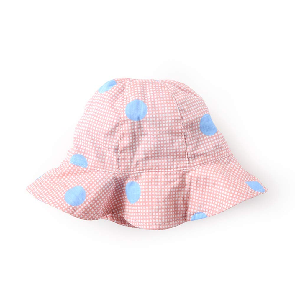 XINGZHE09 Sun hat Fisherman hat Wide Side Spring and Summer Thin Section, Chin Rope, Good Sunshade Effect, Infants, a Variety of Colors to Choose from Child hat (Color : M Pink dots) by XINGZHE09
