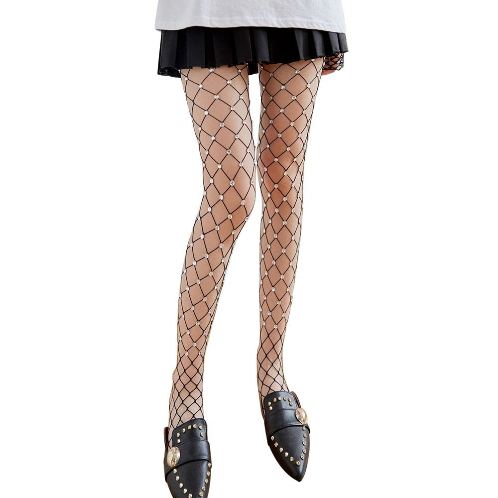 Sumen Fashion Stockings for Womens Fishnet Silk Mesh Pantyhose Transparent Tights Teen Girls Stocks (Black)