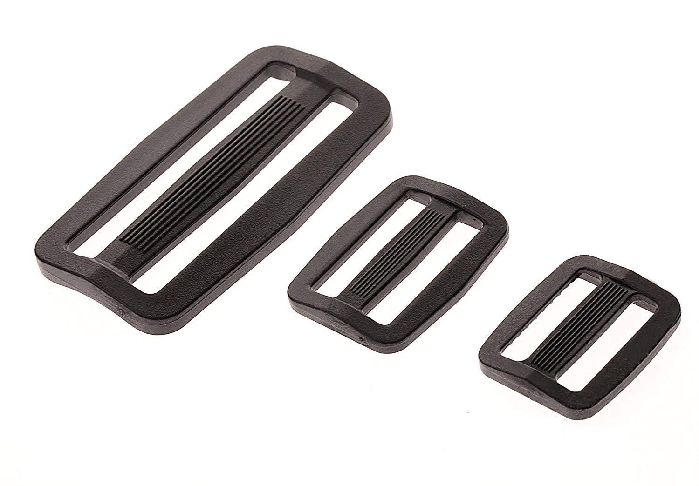 Shapenty 50PCS Black Plastic Tri-glide Slides Button Bulk Adjustable Webbing Triglides Slider Buckle for Belt Backpack and Bags (Black, 0.75 Inch)