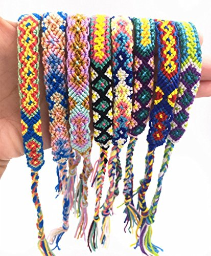 TECHP HandMade Nepal Style Woven Friendship Bracelets  8 Pack Different Pattern