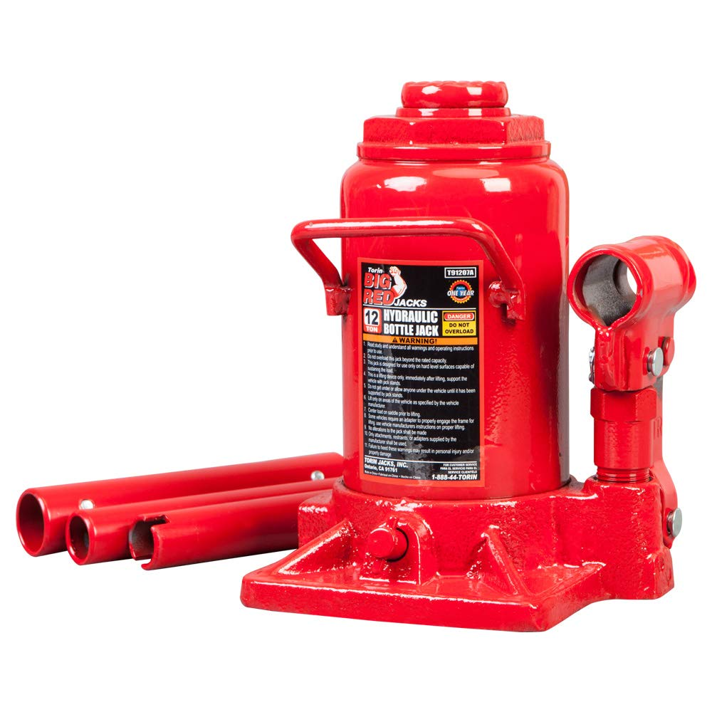 Torin Big Red Hydraulic Stubby Bottle Jack, 12 Ton Capacity by Torin