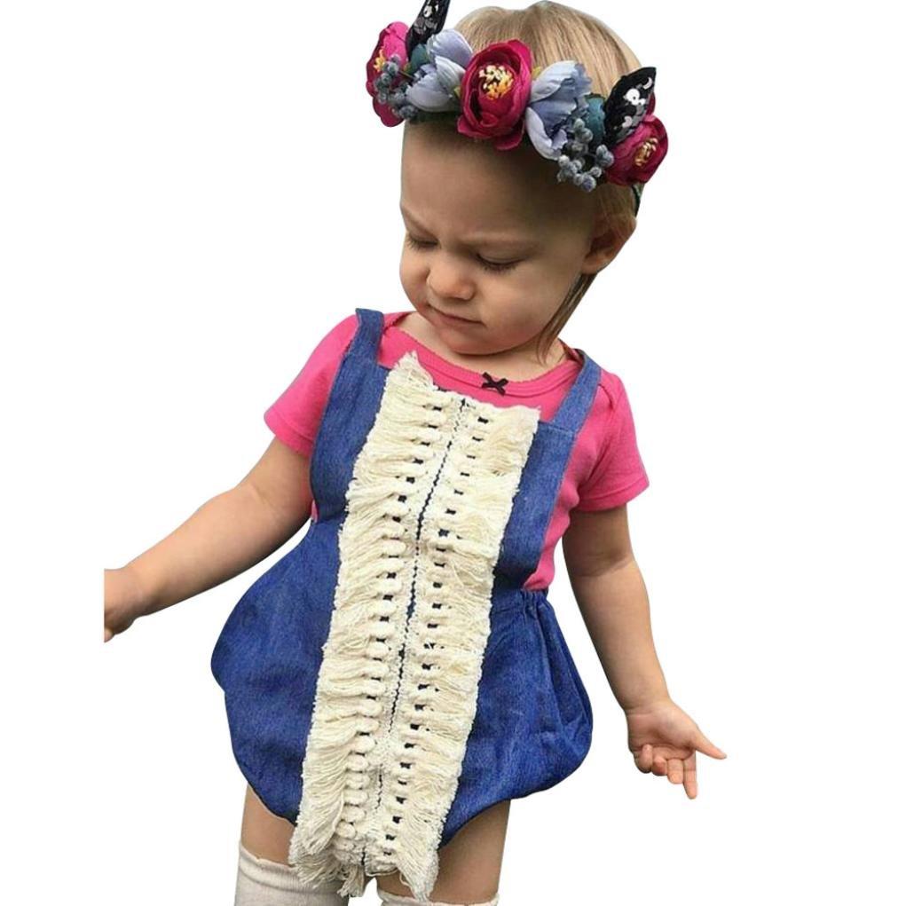 Memela Baby Girl Lace Romper Jumpsuit Sleeveless Denim Tassels Backless Romper Outfits Set