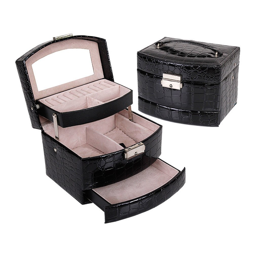 PU Leather Makeup Box, Crocodile Pattern 3-Tier Mirror Jewelry Box Organizer Cosmetic Case Lockable Earings Necklaces Bracelets Storage Holder With Multiple Compartments (Black)