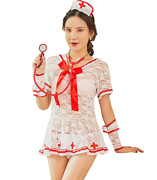 Amazon.com: Disfraz de enfermera para mujer, de manga corta ...