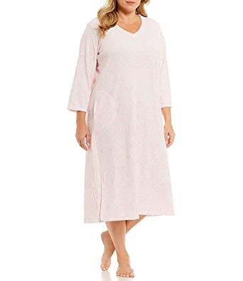 Miss Elaine Women s Plus Size Brushed-Waffle-Knit Nightgown (Pink ... 0879ef8e1