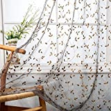 Floral Embroidered Sheer Curtains Vintage Leaves Embroidery Voile Curtain Panels for Living Room