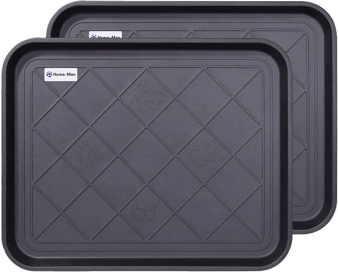 """Home-Man Multi-Purpose Boot Tray Mat,Boot Tray for Entryway, Pet Bowl Tray,Dog Bowl Mat,Waterproof Trays for Indoor and Outdoor Floor Protection,20""""x 15""""/2 Pack"""