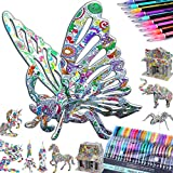 10-PACK 3D Coloring Puzzle Set: 10 3-D Puzzles +48 Gel Pens by Talented Kidz. 3D Puzzles for Adults & 3D Puzzles for Kids Ages 10-12. Best Model Builder STEM Art Crafts for Girls High IQ Creative Gift
